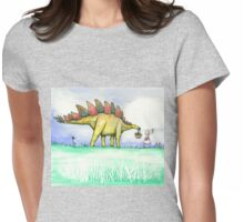 Stegosaurus Flowers Womens Fitted T-Shirt
