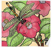 Damselfly on camellias Poster