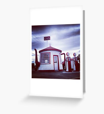 Tiny Old Fashion Teapot Gas Station Greeting Card