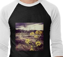 Fallen Log with Wildflowers Beside Riverbank Men's Baseball ¾ T-Shirt