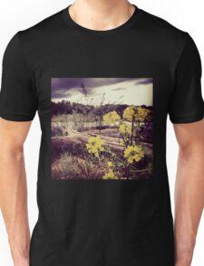 Fallen Log with Wildflowers Beside Riverbank Unisex T-Shirt