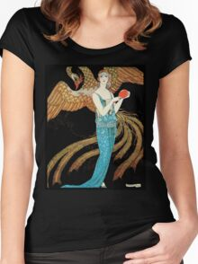 Flapper in a Blue Dress, art Deco fashion illustration Women's Fitted Scoop T-Shirt