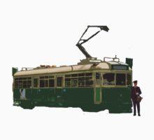 W Class Tram & Conductor T-shirt V2 by Bert Goldsmith
