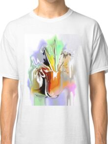 bouquet of abstract flowers in orange pot illustration  Classic T-Shirt
