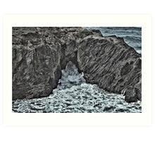 Waves Through A Hole In The Rock Art Print