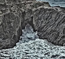 Waves Through A Hole In The Rock by OneRudeDawg