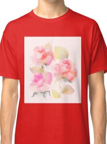 Beautiful rose flowers over white background  Classic T-Shirt