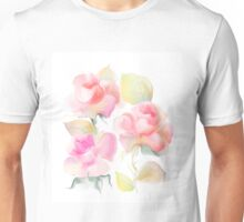 Beautiful rose flowers over white background  Unisex T-Shirt