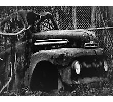 The Mystery Of The Old Burned Out Wreck Photographic Print