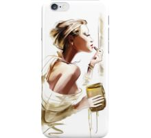Pretty young woman with  lipstick iPhone Case/Skin