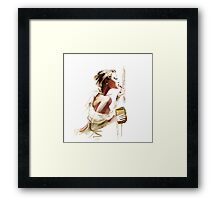 Pretty young woman with  lipstick Framed Print