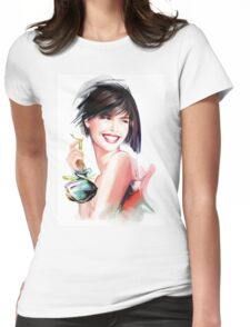 fashion woman with bottle of perfume  Womens Fitted T-Shirt