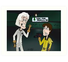 """BttF - Lone Pine Mall ...""""Run for it, Marty!"""" (Marty's 2 POVs) Art Print"""