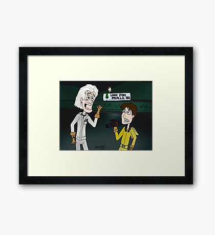 """BttF - Lone Pine Mall ...""""Run for it, Marty!"""" (Marty's 2 POVs) Framed Print"""