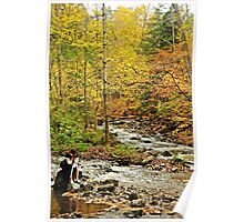 Girl sitting by the stream, Autumn. Poster