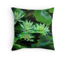 Water lilies flooded Throw Pillow