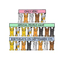 Cats celebrating birthdays on September 11th. Photographic Print