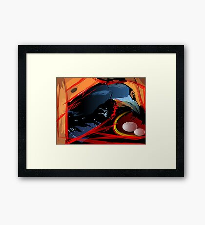 Mother bird with her eggs Framed Print