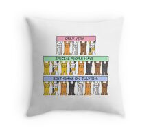Cats celebrating a July 11th Birthday. Throw Pillow