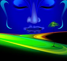 Face of Lord Buddha depicting peace by tillydesign