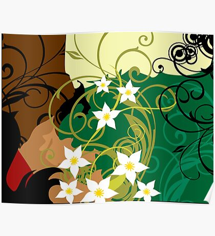 Swirls and foliage designs Poster