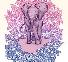Cute Baby Elephant in pink, purple & blue by micklyn