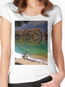 Geese on the shore of a mountain lake Women's Fitted Scoop T-Shirt