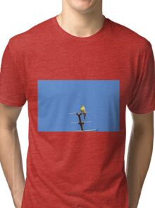Yellow bird sings his song leaning on an antenna Tri-blend T-Shirt
