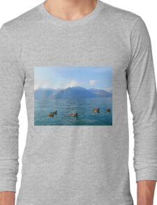 Ducks on a lake in the mountains Long Sleeve T-Shirt
