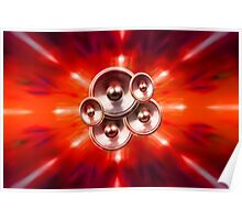 Music speakers and party lights Poster