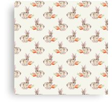 Rabbit and carrot. Seamless pattern. Cute watercolor background Canvas Print