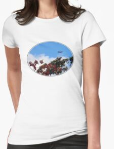 As the season flies by ('Leaf'ing below a jet plane) Womens Fitted T-Shirt