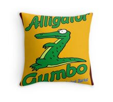 Alligator Gumbo Cartoon Throw Pillow