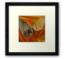 Mahogany Brown Abstract Low Polygon Background Framed Print