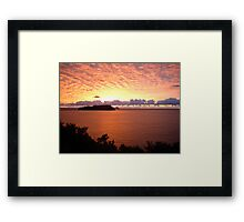Red Sky at Morning, New Zealand Sunrise over Pacific Ocean Framed Print