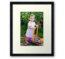Rosalie Pushing Blocks Framed Print