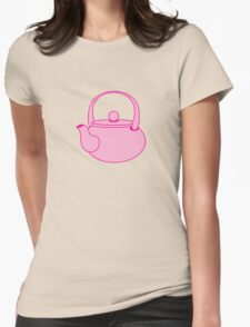 a cute pink tea kettle Womens Fitted T-Shirt