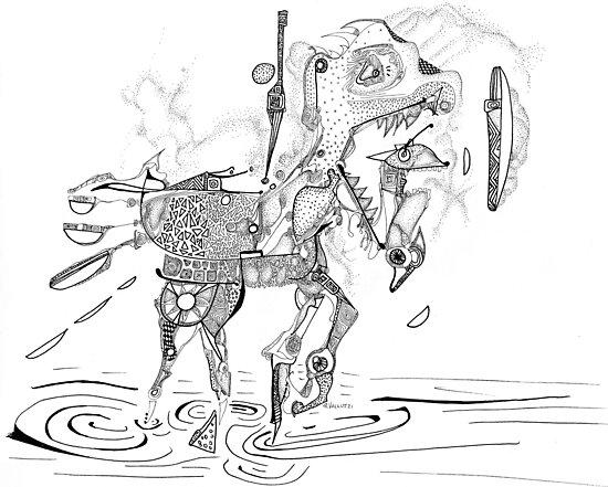 Merrygoround Horse - abstract pen and ink by Regina Valluzzi