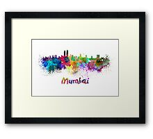 Mumbai skyline in watercolor Framed Print