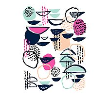 Rumba - pattern print retro cool hipster art colorful feminine shapes abstract Photographic Print