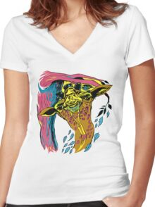 Giraffe and Tree in Tri Color Women's Fitted V-Neck T-Shirt