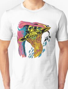 Giraffe and Tree in Tri Color T-Shirt