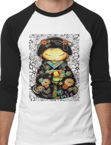 Little Multicolour Teapot Floral  Men's Baseball ¾ T-Shirt