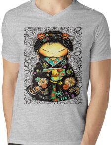 Little Multicolour Teapot Floral  Mens V-Neck T-Shirt