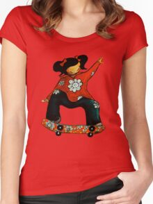 Skater Girl TShirt by Karin Taylor Women's Fitted Scoop T-Shirt