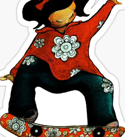 Skater Girl TShirt by Karin Taylor Sticker