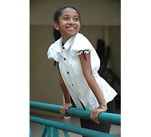 little girl stand up beside the fench Photographic Print