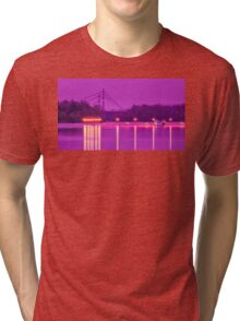 View of the marina of boats on the river Tri-blend T-Shirt
