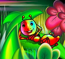 Insect with charming mood in the midst of flowers by tillydesign