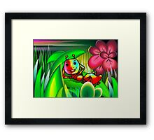 Insect with charming mood in the midst of flowers Framed Print